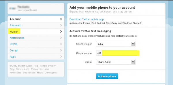 Mobile settings Twitter