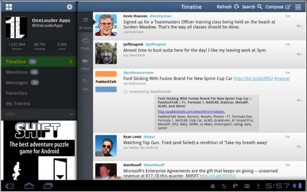 Twitter interface in tablet