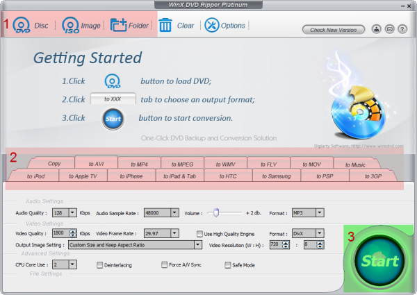 WinX DVD Ripper Interface