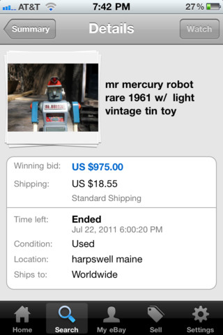 eBay iphone app