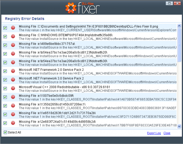error details DLL files fixer